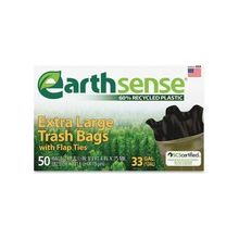 """Webster Earth Sense 33-gal Extra Large Trash Bags - 33 gal - 32.50"""" Width x 40"""" Length x 0.70 mil (18 Micron) Thickness - Low Density - Black - 300/Carton - 50 Per Box - Can"""