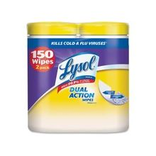 Lysol Dual Action Disinfecting Cleaning Wipes - Wipe - Citrus Scent - 75 / Canister - 6 / Carton - White