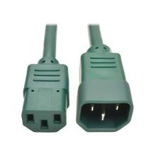 Tripp Lite 3ft Heavy Duty Power Extension Cord 15A 14 AWG C14 C13 Green 3' - For Computer, Scanner, Printer, Monitor, Power Supply, Workstation - 230 V AC Voltage Rating - 15 A Current Rating - Green