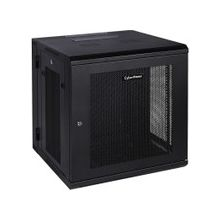 """CyberPower Swing-out Wall Mount Enclosure - 19"""" 12U Wide x 18.40"""" Deep Wall Mountable for LAN Switch, Patch Panel - Black Powder Coat - Metal - 132.30 lb x Static/Stationary Weight Capacity"""