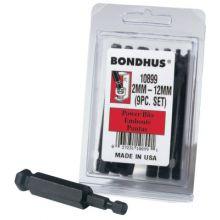 "Bondhus 10899 Bhx9Mm 9Pc. 3"" Metric Balldriver Power Bit S"