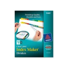 """Avery Index Maker Punched Clear Label Tab Divider - 12 x Divider(s) - Blank Tab(s) - 12 Tab(s)/Set - 8.50"""" Divider Width x 11"""" Divider Length - Letter - 3 Hole Punched - Multicolor Tab(s) - 5 / Pack"""