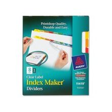 """Avery Index Maker Punched Clear Label Tab Divider - 40 x Divider(s) - Blank Tab(s) - 8 Tab(s)/Set - 8.50"""" Divider Width x 11"""" Divider Length - Letter - 3 Hole Punched - Multicolor Tab(s) - 5 / Pack"""