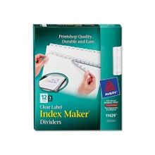 """Avery Index Maker Clear Label Divider - 12 Blank Tab(s) - 12 Tab(s)/Set - 8.50"""" Divider Width x 11"""" Divider Length - Letter - 3 Hole Punched - White Divider - White Tab(s) - 60 / Pack"""