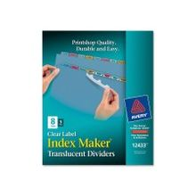 """Avery Index Maker Easy Apply Clear Label Divider - 8 x Divider(s) - Blank Tab(s) - 8 Tab(s)/Set - 8.50"""" Divider Width x 11"""" Divider Length - Letter - 3 Hole Punched - Multicolor Plastic Divider - Paper Tab(s) - 5 / Pack"""