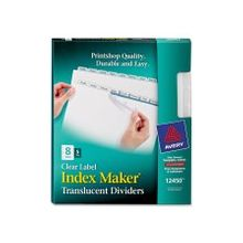 """Avery Index Maker Easy Apply Clear Label Divider - 8 x Divider(s) - Blank Tab(s) - 8 Tab(s)/Set - 8.50"""" Divider Width x 11"""" Divider Length - Letter - 3 Hole Punched - Plastic Divider - Clear Tab(s) - 5 / Pack"""