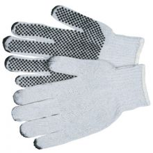 Memphis Glove 9650LM Large Cotton/Polester Natural Pvc Dots/1 Side (1 PR)