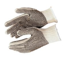 Memphis Glove 9660LM Cotton/Polyester Naturalpvc Dots 2 Sides Large (12 PR)