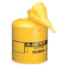 Justrite 7150210 5 Gallon Yellow Type I Safety Can W/Poly Funnel