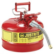 """Justrite 7225120 2 1/2 Gal Red Safety Canw/5/8"""" Dia Hose"""