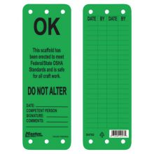 Master Lock S4702 Green Scaffold Tags - Okthis Scaffold Is Safe