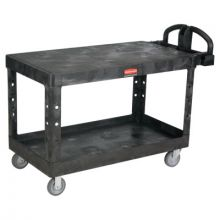 Rubbermaid Commercial 4545-BLA Hd Flat 2 Shelf Utilitycart Large