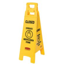 Rubbermaid Commercial 6114-78-YEL Floor Sign W/Multi-Lingual Closed Impr