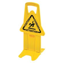 "Rubbermaid Commercial 9S09 Yellow Stable Safety Sign W/""Caution"" Imprint"