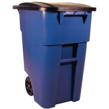 Rubbermaid Commercial 9W27-BLUE Blue 50 Gal Brute Rollout Container W/Lid