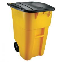 Rubbermaid Commercial 9W27-YLW Yellow 50 Gallon Brute Rollout Cart With Lid