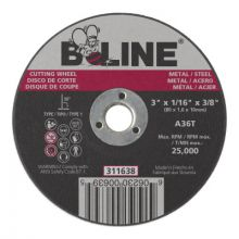 B-Line Abrasives 311638 3 X 1/16 B-Line T1 Cutting Wheel A36T 3/8 A.H.