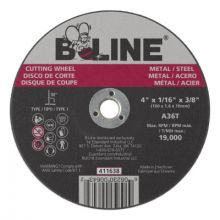 B-Line Abrasives 411638 4 X 1/16 B-Line T1 Cutting Wheel A36T 3/8 A.H.