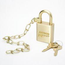 AbilityOne 5340015881676 SKILCRAFT Solid Brass Case Padlock w/Chain - Keyed Different - Solid Brass - Brass