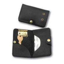 AbilityOne 7510014459348 SKILCRAFT Leather Key and Credit Card Holder - Leather - 1 Each - Black