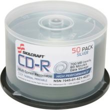 AbilityOne 7045015214221 SKILCRAFT CD Recordable Media - CD-R - 52x - 700 MB - 1 Pack Spindle - 120mm - Printable - Thermal Printable - 1.33 Hour Maximum Recording Time