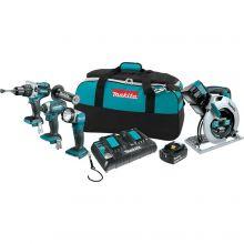 Makita XT443PM 18 Volt X2 LXT Lithium-Ion Cordless 4-Piece Combo Kit (Brushless Hammer Drill/ Impact Driver/ X2 Circular Saw/ Flashlight/ Dual Port Charger) 4.0 Ah