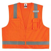 Glowear 8249Z Type R Class 2 Economy Surveyors Vest XS Orange (1 Each)