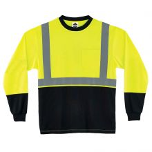 Glowear 8291Bk Type R Class 2 Black Frontlong Sleeve T-Shirt L Lime (1 Each)