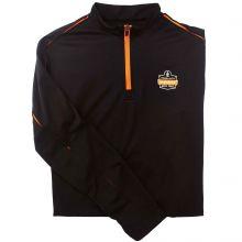 Ergodyne Ltwt1/2Zp Lightweight Half Zip Pullover M Black & Orange (1 Each)
