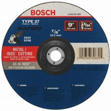BOSCH TCW27S900 9 x 5/64 x 7/8 Type 27 Thin Cutting Disc AS46INOX-BF for Stainless/Metal  (Bulk)