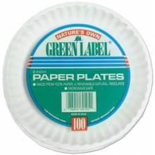"Ajm PP9GREWH (100/Pk) 9"" White Paperplates Gre (10 PK)"