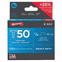 "Arrow Fastener 504 50014 T50 1/4"" Staple1250/Pk .050 Wire"