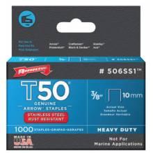 "Arrow Fastener 506SS1 83538 T50 Ss Staples 3/8""X.050 1-000/Pack"