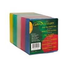 Compucessory Extra Thin CD/DVD Jewel Case - Jewel Case - Slide Insert - Plastic - Assorted