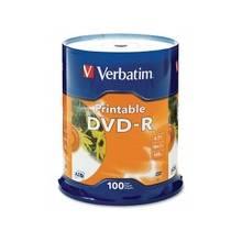 Verbatim DVD-R 4.7GB 16X White Inkjet Printable - 100pk Spindle - DVD-R 16X White Inkjet Printable - 4.70 GB - 100pk Spindle