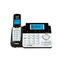 VTech DS6151 DECT 6.0 2-Line Expandable Cordless Phone with Answering System, Silver/Black with 1 Handset - Cordless - 2 x Phone Line - Speakerphone - Answering Machine - Hearing Aid Compatible - Backlight