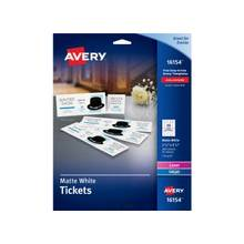 "Avery Tickets With Tear-Away Stubs 16154, Matte White, 1-3/4"" x 5-1/2"", Pack of 200 - 1.75"" Width x 5.50"" Length - 20 / Sheet - Laser, Inkjet - White - 200 / Pack"