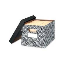 """Fellowes Stor/File Decorative - Brocade - Internal Dimensions: 12"""" Width x 15"""" Depth x 10"""" Height - External Dimensions: 12.5"""" Width x 16.3"""" Depth x 10.5"""" Height - Lift-off Closure - Medium Duty - Stackable - Black, White - For File - Recycled - 4 / Cart"""