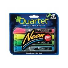 Quartet® Neon Dry-Erase Markers - Bullet Point Style - Neon Pink, Yellow, Green, Blue - 4 / Pack