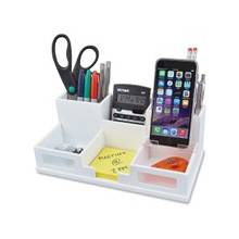 """Victor Pure White Collection Wood Desk Organizer with Smart Phone Holder - 6 Compartment(s) - 3.5"""" Height x 5.5"""" Width x 10.4"""" Depth - White - Wood, Frosted Glass, Rubber - 1Each"""
