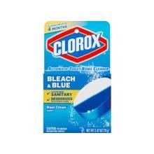 Clorox Automatic Toilet Bowl Bleach/Blue Cleaner - Tablet - 2.47 oz (0.15 lb) - Rain Clean Scent - 12 / Carton - White, Blue