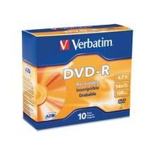 Verbatim AZO DVD-R 4.7GB 16X with Branded Surface - 10pk Slim Case - 2 Hour Maximum Recording Time
