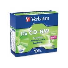 Verbatim CD-RW 700MB 4X-12X High Speed with Branded Surface - 10pk Slim Case