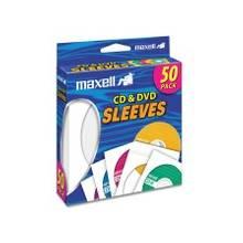 Maxell CD-400 CD/DVD Sleeves (50-Pack) - Sleeve - Slide Insert - White