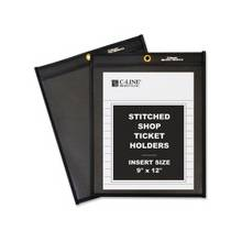 "C-Line Stitched Shop Ticket Holders with Black Backing - 9"" Width x 12"" Length Sheet Size - Pressboard - Clear, Black - 25 / Box"""