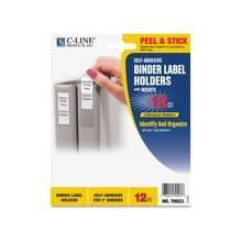 "C-Line Self-Adhesive Binder Label Holders - 1.8"" x 2.8"" - Vinyl - 12 / Pack - Clear"""