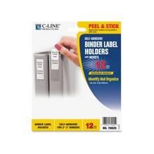 "C-Line Self-Adhesive Binder Label Holders - 1.8"" x 3.3"" - Vinyl - 12 / Pack - Clear"""