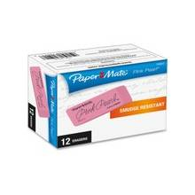 Paper Mate Pearl Eraser - Lead Pencil Eraser - Self-cleaning, Tear Resistant, Smudge-free, Pliable - Rubber - 12/Box - Pink
