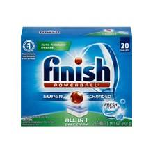 Finish Automatic Dishwasher Detergent - Tablet - 20 / Box - White