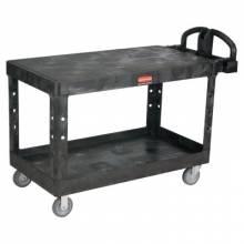 Rubbermaid Commercial 4545-BLA Hd Flat 2 Shelf Utilitycart Large